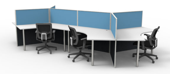 6 Person Workstation - Blue 1